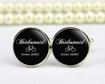 Bridesmaid or Groomsman Cufflinks, custom any text, photo, personalized cufflinks, custom wedding cufflinks, groom cufflinks, tie clips
