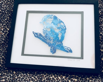 Handcut Papercut Blue Tit