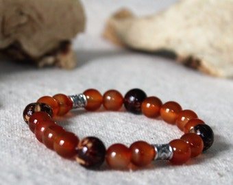 Boho chic bracelet made of natural stones of carnelian and seed