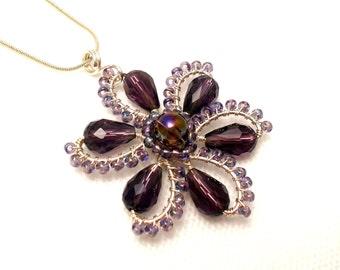 Flower pendant, purple flower pendant, amethyst pendant, amethyst flower pendant, wire wrapped flower pendant, spring jewelry