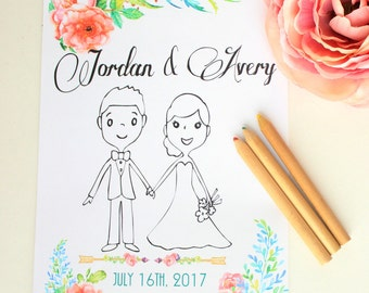 Wedding Coloring book Personalized wedding coloring book Kids