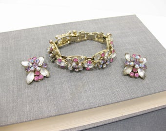 Stunning D&E DeLizza and Elster Juliana Pink and Purple Rhinestone Bracelet and Earring Set