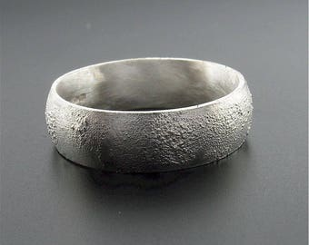 Lunar Rustic matt court 6mm silver band for a mans wedding ring