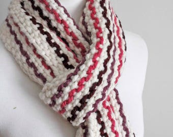 Chunky Scarf, Scarf, Woven Scarf, Valentine Gift for Her, Pink Purple Scarf, Handwoven Scarf, Wool Scarf, Winter Scarf, Girlfriend Gift