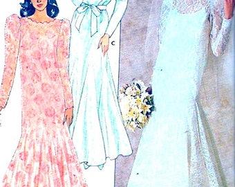 Fishtail Wedding dress Brides gown 80s Romantic style Butterick 4414 vintage sewing pattern Bust 40 plus size UNCUT