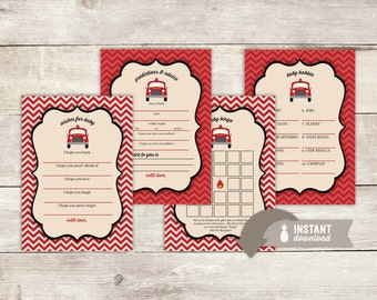 Vintage Inspired Fire Truck Baby Shower Game Pack - 4 Instant Download Games