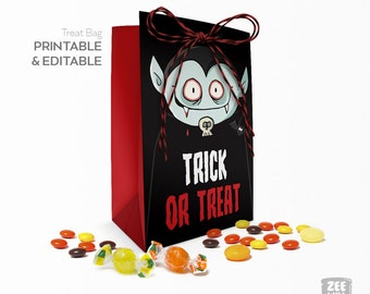 Halloween treat bag, Trick or Treat, Favour bag, Kids Party, Dracula, printable bag, Halloween, instant download, Vampire, ZWDH0061