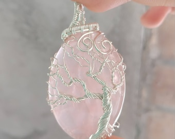Sterling Silver Tree of Life Wrapped Rose Quartz Necklace