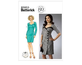 Butterick 5953 - Neckline-Detail Dresses Vintage