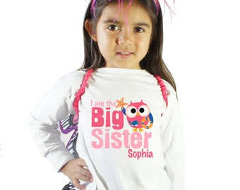 I'm the big sister nautical owl Shirt for girls or Baby Bodysuit
