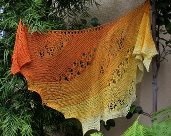 Ombre Orange and Yellow Tahitian Sunrise Cotton Lace Inserts Asymmetrical Triangular Shawl or Shawlette