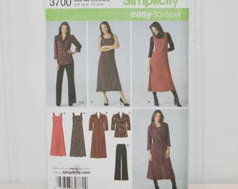 Simplicity 3700 Easy To Sew Line (c. 2007) Misses'  and Women's Sizes 10-18, Pants, Dress or Jumper, Shirt Dress or Tunic, Business Clothes