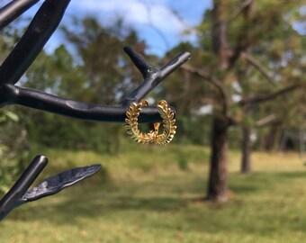 Golden Olive Branch Earrings - 22k Gold Plated