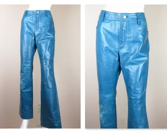 Vintage 1980s 1990s High Rise, High Wasted Leather Pants / Medium, Large / Teal Blue, Turquoise / Biker / 100 % Genuine / Boot Cut, Bootcut