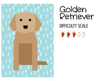Golden Retriever paper pieced quilt pattern in PDF