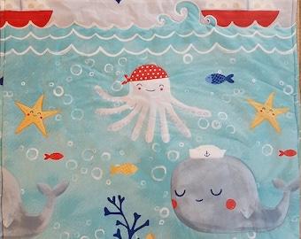 nautical baby/crib quilt, sea/ocean baby blanket, octapus/crab/sailboat/starfish/whale boy crib quilt, seashore baby quilt, nautical blanket