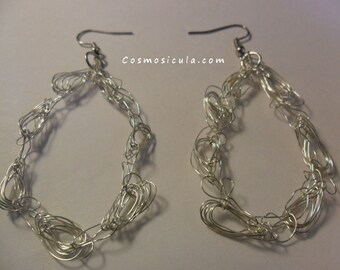 Wire crochet earrings. Crocheted with bleached brass wire. On request also available with brass wire or copper wire.