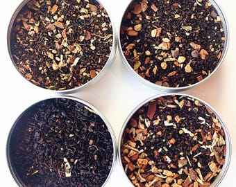TEAliSe Loose Leaf Tea Sampler Holiday Chai Tea Collection Bestselling Cans 20 Servings of Tea Per Can