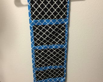Handmade blue and white background and black and white pockets locker organizer/ locker caddy