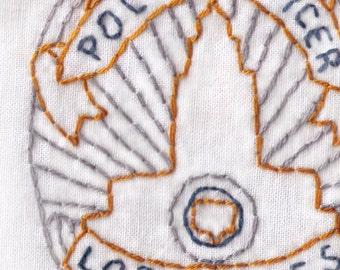Police Hand Embroidery Pattern, LAPD, Police Badge, Los Angeles, First Responder, PDF