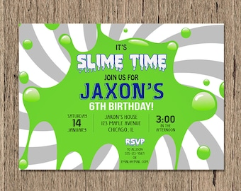 Slime birthday invitation, slime birthday party invitation, science birthday party invitation, slime making party, printable or printed