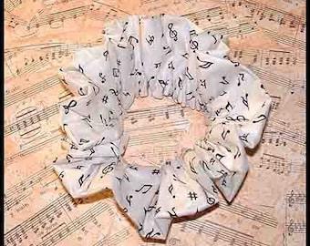Music in the Air Hair Scrunchie, Band/Choir Ponytail Holder, Instructor/Teacher Adult Large Hair Tie