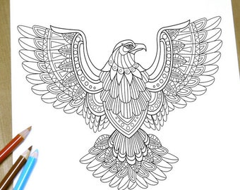 Flying eagle Coloring page - Adult Coloring Page Print