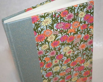 Handbound Lined Journal - fresh daisy, shades of pink and tangerine, 6x8.5, SALE