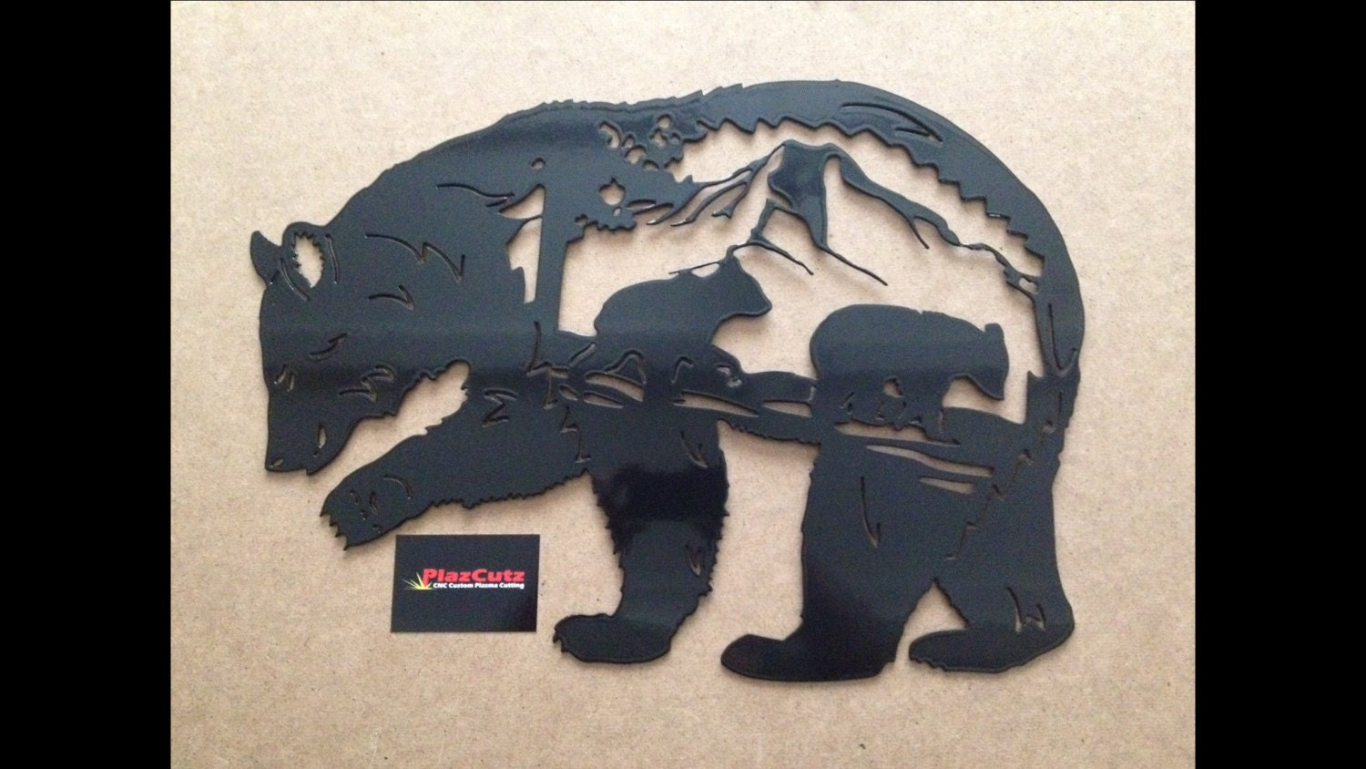Metal Wall Art Plaques Bear Scene Metal Wall Art Plaque Cnc Plasma Cut And Powder