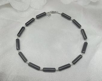 Black Onyx Anklet Black Onyx Ankle Bracelet Silver Heart Anklet Black Anklet 925 Sterling Silver Anklet Summer Jewelry BuyAny3+Get1Free