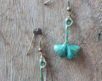 1130 ginko leaf earrings,