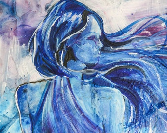 Original Painting - Female Figure in Blue and Purple - 14x11 inches