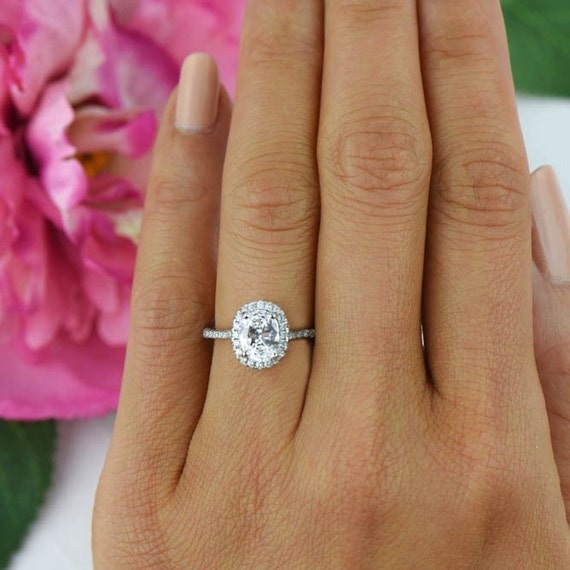15 ctw classic oval halo engagement ring halo wedding ring man made diamond simulants half eternity ring promise ring sterling silver - Oval Wedding Ring