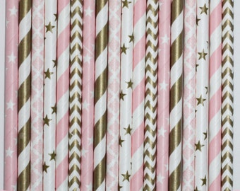 50  Ballet Glam Paper Straw Mix  PAPER STRAWS birthday party event cake pop sticks pink gold