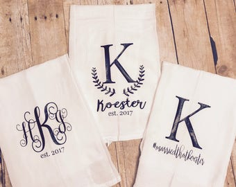 3 Monogrammed kitchen farmhouse towel set, personalized wedding gift, wedding gift set