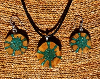 Cholla Cactus Skeleton Inlaid With Turquoise Pendant and Earrings.