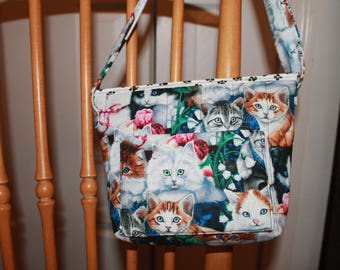 Kitties Quilted Purse with paw prints