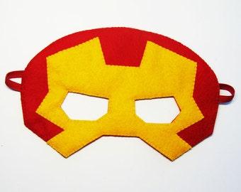 Ironman Superhero felt Mask - Red Yellow - soft kids costume - gift for boys girls - Dress Up play accessory