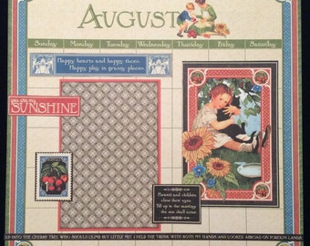 August Graphic 45 Calendar Layout, Premade 12x12 Single Page Scrapbook Layout, Summer, Vacation Layout, Children's Hour, Kids Page,