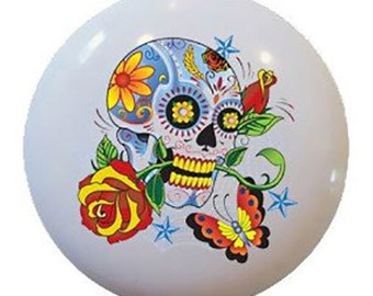 Day of the Dead Sugar Skull Rose Ceramic Knobs Pulls Kitchen Drawer Cabinet Vanity