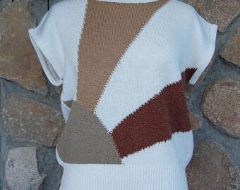 80s Knit sweater vest color block blouse