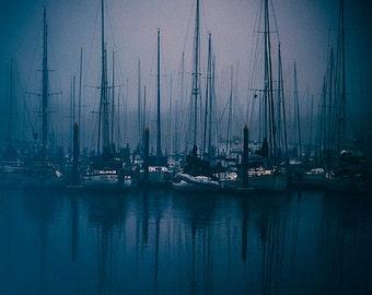 Coastal Fog Photography, Blue Landscape Photo, Gulf Coast Marina, Sailboats, Foggy Morning, Moody Fine Art, Boats, Texas Coast, Sailing
