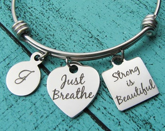 strength gift, strong women bracelet, cancer survivor jewelry, na aa recovery gift, strong is beautiful, just breathe inspirational jewelry