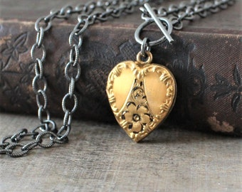 Gold Heart Locket, Oxidized Sterling Silver Chain, Vintage Locket Necklace, Gold Heart Locket Pendant, Heavy Chain, Push Present Mixed Metal