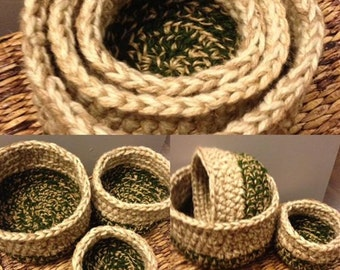 Beige/Green Crochet Nesting Basket Set