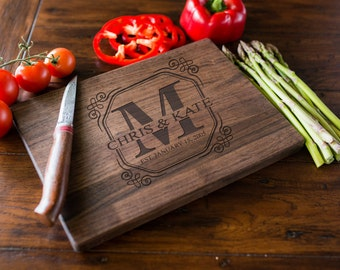 Custom Engraved Cutting Board, Personalized Cutting Board, Monogram, Wedding Gift, Anniversary, Bridal Shower Gift, Kitchen Decor #3002