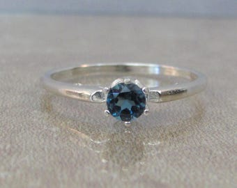 London Topaz Ring, Stackable Ring, 4mm London Blue Topaz, Stacking Gemstone Ring, Sterling Silver, Solitaire Ring, December Birthstone Ring
