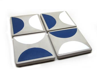 Square Hand Painted Concrete Coasters, Modern Coasters, Cement Coaster Set of 4 , Cork Bottom Minimalist