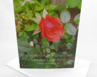 ROSE Classic Folded Notecard with Envelope - Floral Photography with Inspirational Message, Blank Inside