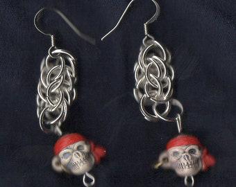 Chainmail Pirate Skull Earrings